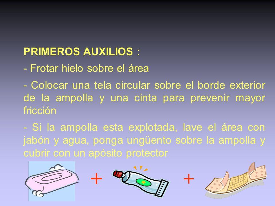 AMPOLLAS SINTOMAS: burbuja de piel levantada con un liquido que puede ser transparente o hemorrágico. Suele ser doloroso. CAUSAS : Zonas presionadas p