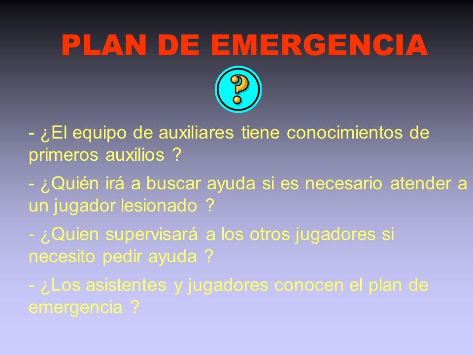 PLAN DE EMERGENCIA - ¿El equipo de auxiliares tiene conocimientos de primeros auxilios .