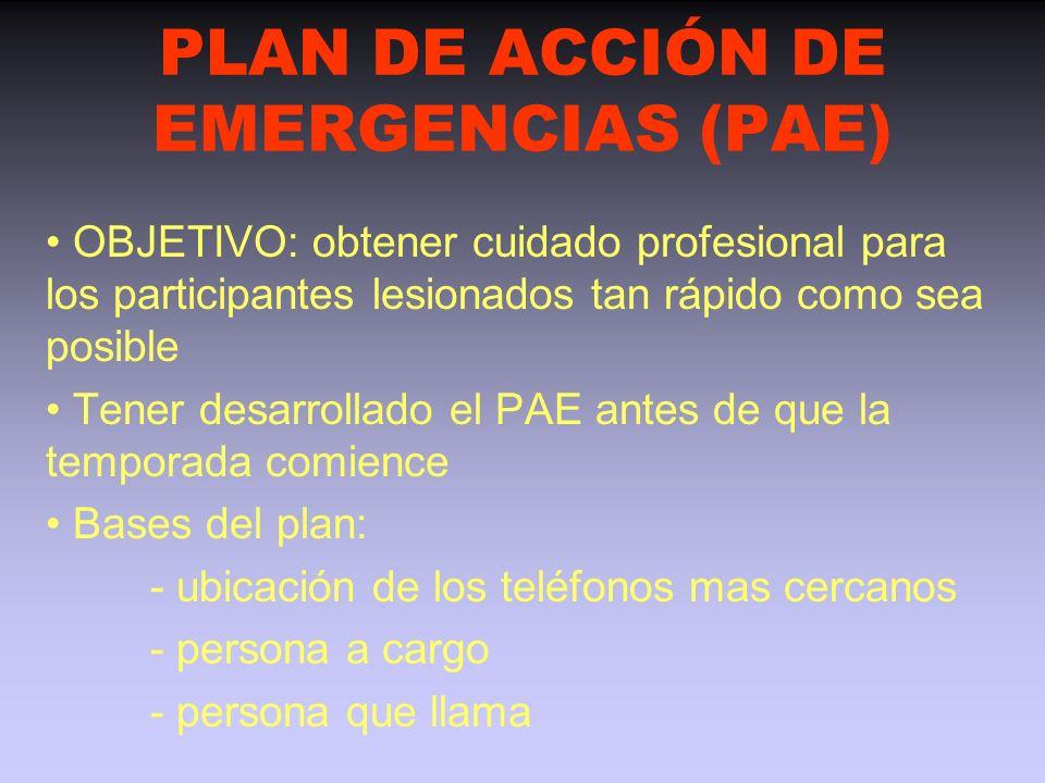 PLAN DE EMERGENCIA - ¿El equipo de auxiliares tiene conocimientos de primeros auxilios ? - ¿Quién irá a buscar ayuda si es necesario atender a un juga