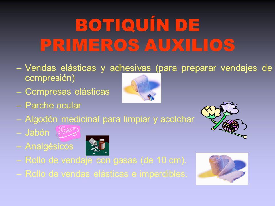 BOTIQUÍN DE PRIMEROS AUXILIOS Contenido: –Bolsas de hielo químico o en su defecto bolsas de plástico para hielo –Espray frío –Esprays antiinflamatorio