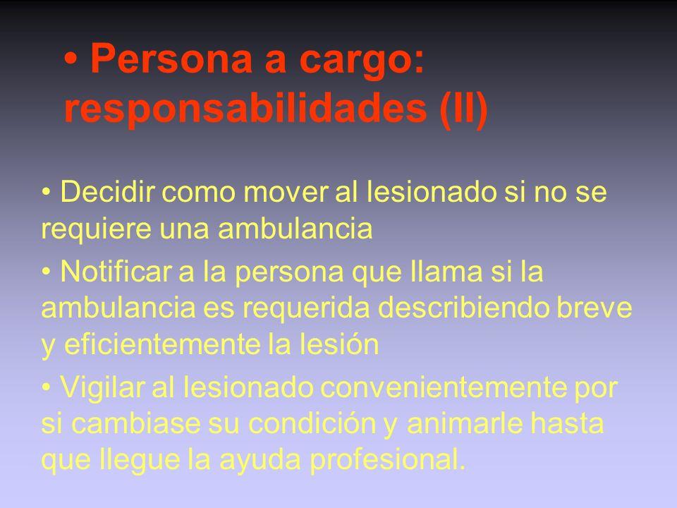 Persona a cargo: responsabilidades (I) Controlar y evaluar la situación en que se produce la lesión Retirar a participantes y observadores del lesiona