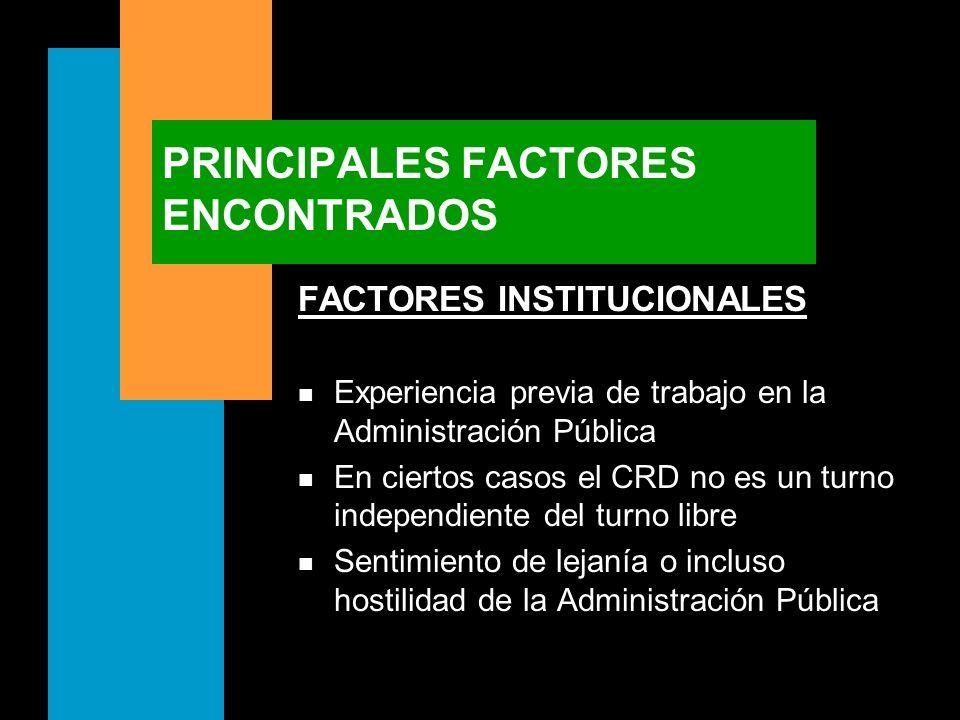 PRINCIPALES FACTORES ENCONTRADOS FACTORES INSTITUCIONALES n Experiencia previa de trabajo en la Administración Pública n En ciertos casos el CRD no es
