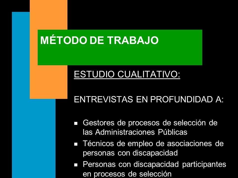 MÉTODO DE TRABAJO ESTUDIO CUALITATIVO: ENTREVISTAS EN PROFUNDIDAD A: n Gestores de procesos de selección de las Administraciones Públicas n Técnicos d
