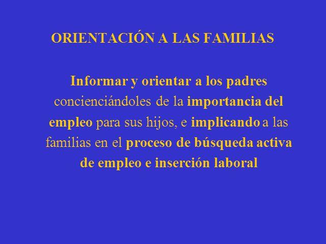 ORIENTACIÓN A LAS FAMILIAS Informar y orientar a los padres concienciándoles de la importancia del empleo para sus hijos, e implicando a las familias en el proceso de búsqueda activa de empleo e inserción laboral