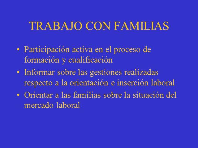 TRABAJO CON FAMILIAS Participación activa en el proceso de formación y cualificación Informar sobre las gestiones realizadas respecto a la orientación