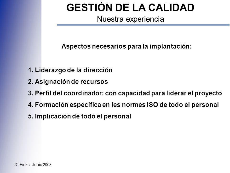 JC Eiriz / Junio 2003 GESTIÓN DE LA CALIDAD Nuestra experiencia Aspectos necesarios para la implantación: 1. Liderazgo de la dirección 2. Asignación d