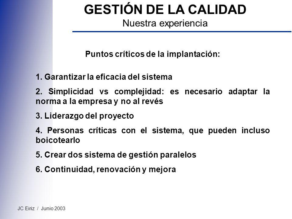 JC Eiriz / Junio 2003 GESTIÓN DE LA CALIDAD Nuestra experiencia Puntos críticos de la implantación: 1. Garantizar la eficacia del sistema 2. Simplicid