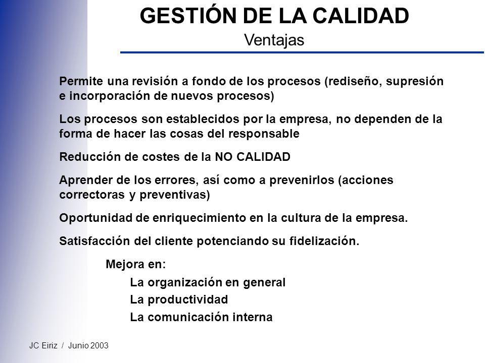 JC Eiriz / Junio 2003 GESTIÓN DE LA CALIDAD Ventajas Permite una revisión a fondo de los procesos (rediseño, supresión e incorporación de nuevos proce