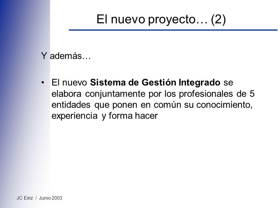 JC Eiriz / Junio 2003 El nuevo proyecto… (2) Y además… El nuevo Sistema de Gestión Integrado se elabora conjuntamente por los profesionales de 5 entid