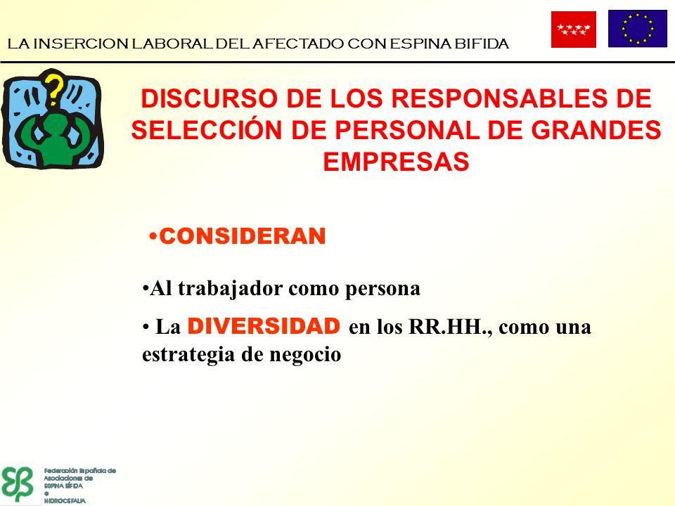 LA INSERCION LABORAL DEL AFECTADO CON ESPINA BIFIDA CONSIDERAN Al trabajador como persona La DIVERSIDAD en los RR.HH., como una estrategia de negocio