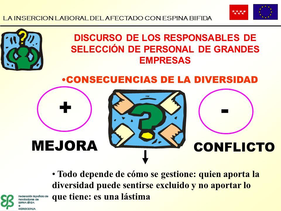 LA INSERCION LABORAL DEL AFECTADO CON ESPINA BIFIDA CONSECUENCIAS DE LA DIVERSIDAD DISCURSO DE LOS RESPONSABLES DE SELECCIÓN DE PERSONAL DE GRANDES EM