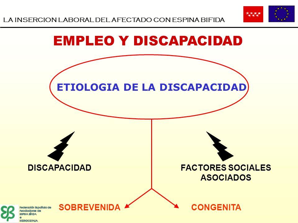 DISCAPACIDADFACTORES SOCIALES ASOCIADOS SOBREVENIDACONGENITA LA INSERCION LABORAL DEL AFECTADO CON ESPINA BIFIDA EMPLEO Y DISCAPACIDAD ETIOLOGIA DE LA