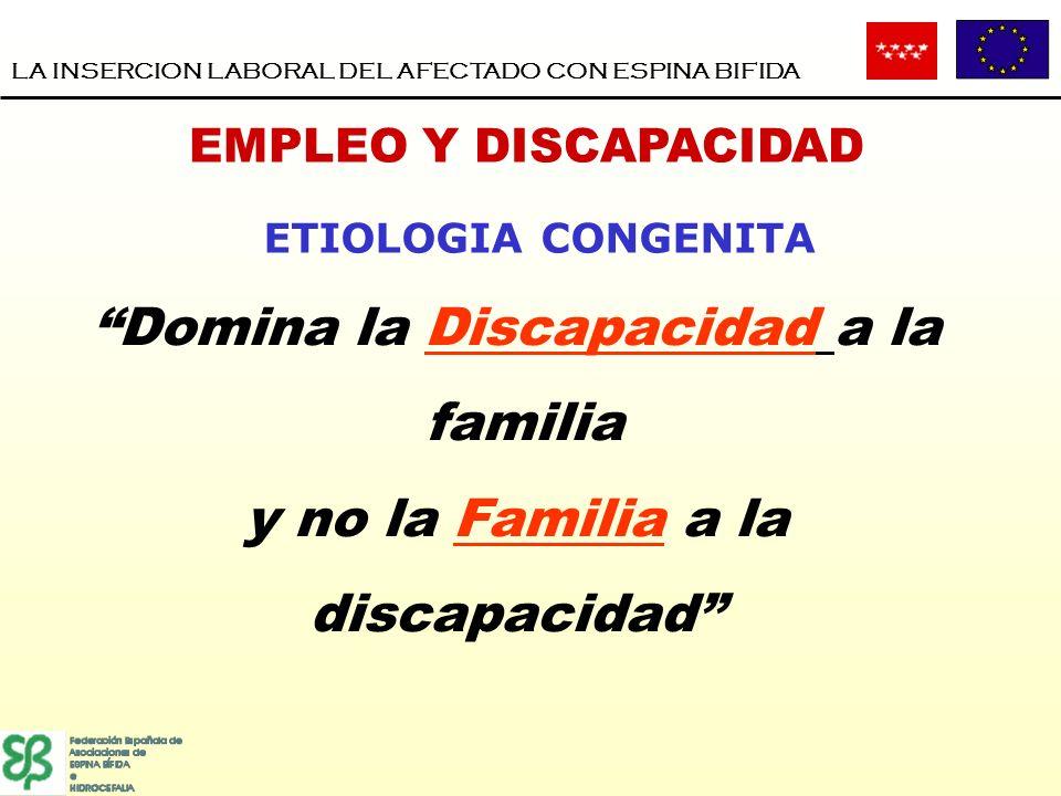 LA INSERCION LABORAL DEL AFECTADO CON ESPINA BIFIDA EMPLEO Y DISCAPACIDAD ETIOLOGIA CONGENITA Domina la Discapacidad a la familia y no la Familia a la