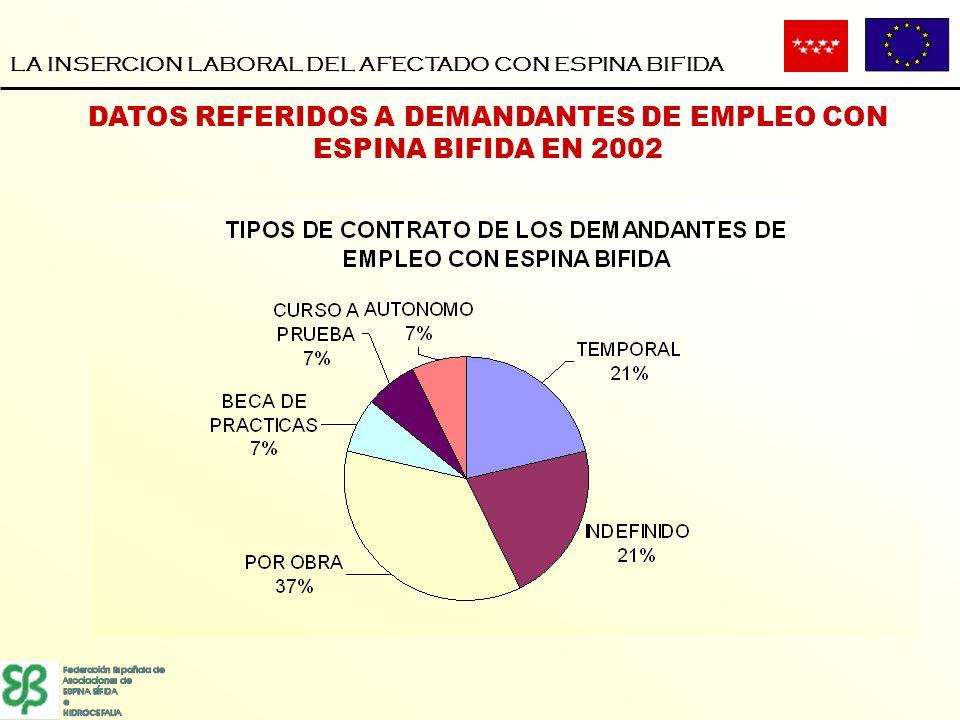 LA INSERCION LABORAL DEL AFECTADO CON ESPINA BIFIDA DATOS REFERIDOS A DEMANDANTES DE EMPLEO CON ESPINA BIFIDA EN 2002