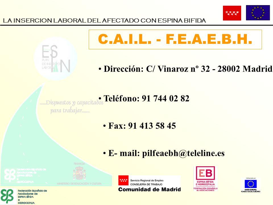 Teléfono: 91 744 02 82 Fax: 91 413 58 45 Dirección: C/ Vinaroz nº 32 - 28002 Madrid E- mail: pilfeaebh@teleline.es C.A.I.L. - F.E.A.E.B.H.