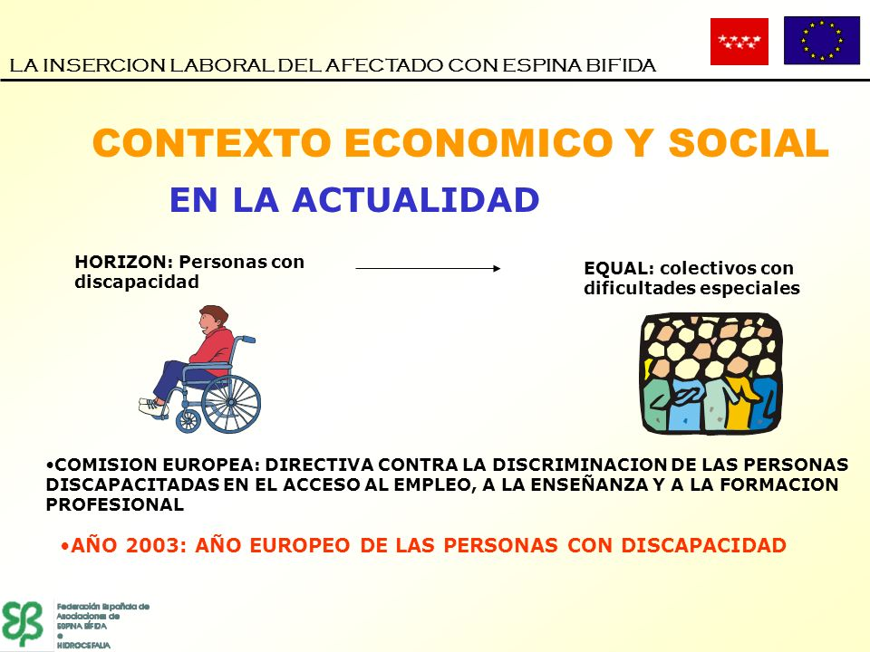 CONTEXTO ECONOMICO Y SOCIAL LA INSERCION LABORAL DEL AFECTADO CON ESPINA BIFIDA EN LA ACTUALIDAD HORIZON: Personas con discapacidad EQUAL: colectivos