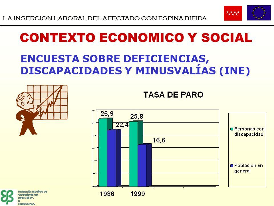 CONTEXTO ECONOMICO Y SOCIAL LA INSERCION LABORAL DEL AFECTADO CON ESPINA BIFIDA ENCUESTA SOBRE DEFICIENCIAS, DISCAPACIDADES Y MINUSVALÍAS (INE)