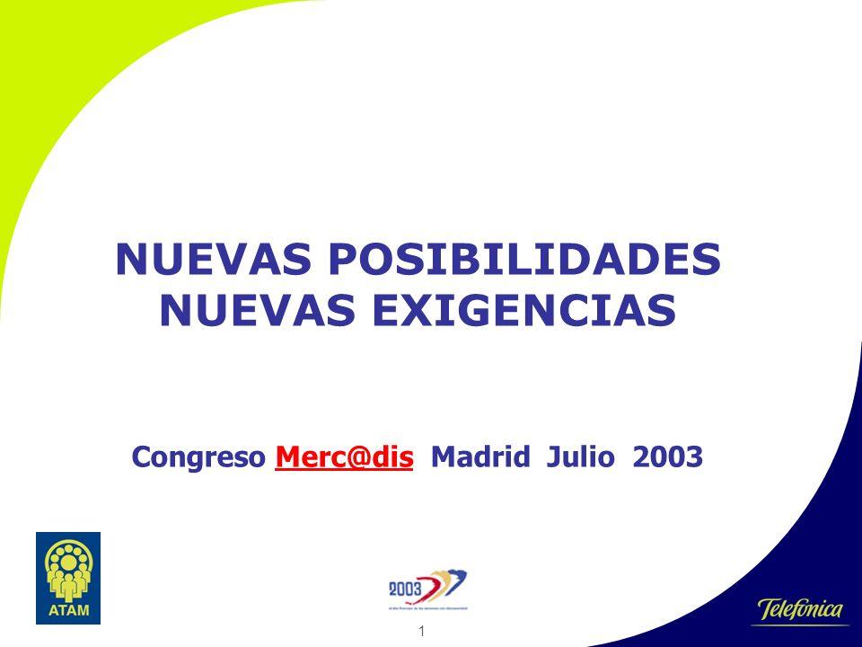 1 NUEVAS POSIBILIDADES NUEVAS EXIGENCIAS Congreso Merc@dis Madrid Julio 2003Merc@dis