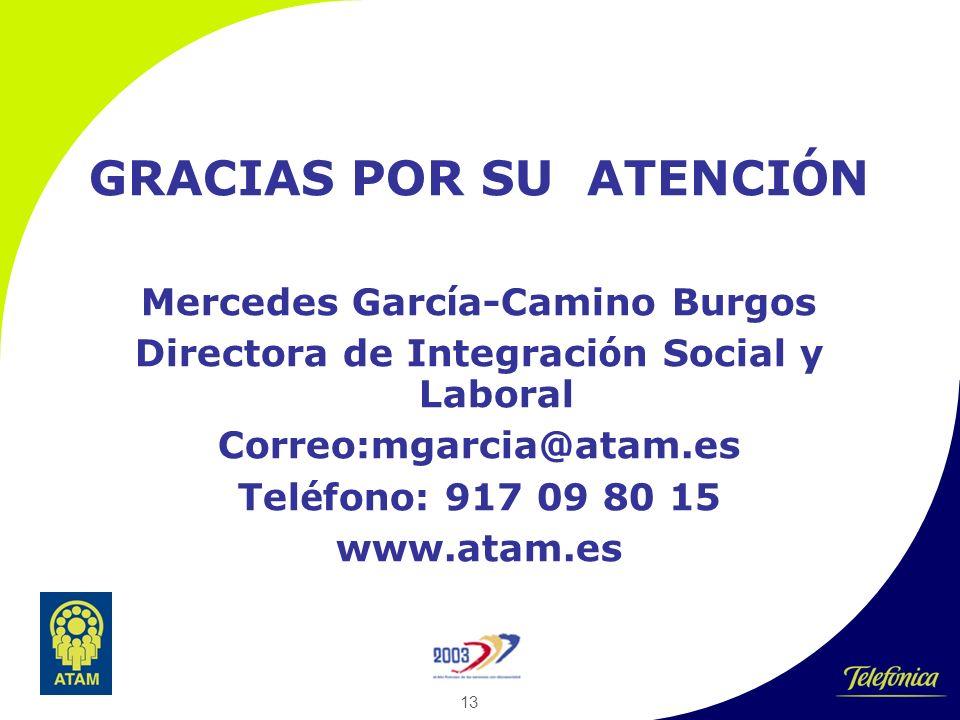 13 GRACIAS POR SU ATENCI Ó N Mercedes Garc í a-Camino Burgos Directora de Integraci ó n Social y Laboral Correo:mgarcia@atam.es Tel é fono: 917 09 80 15 www.atam.es