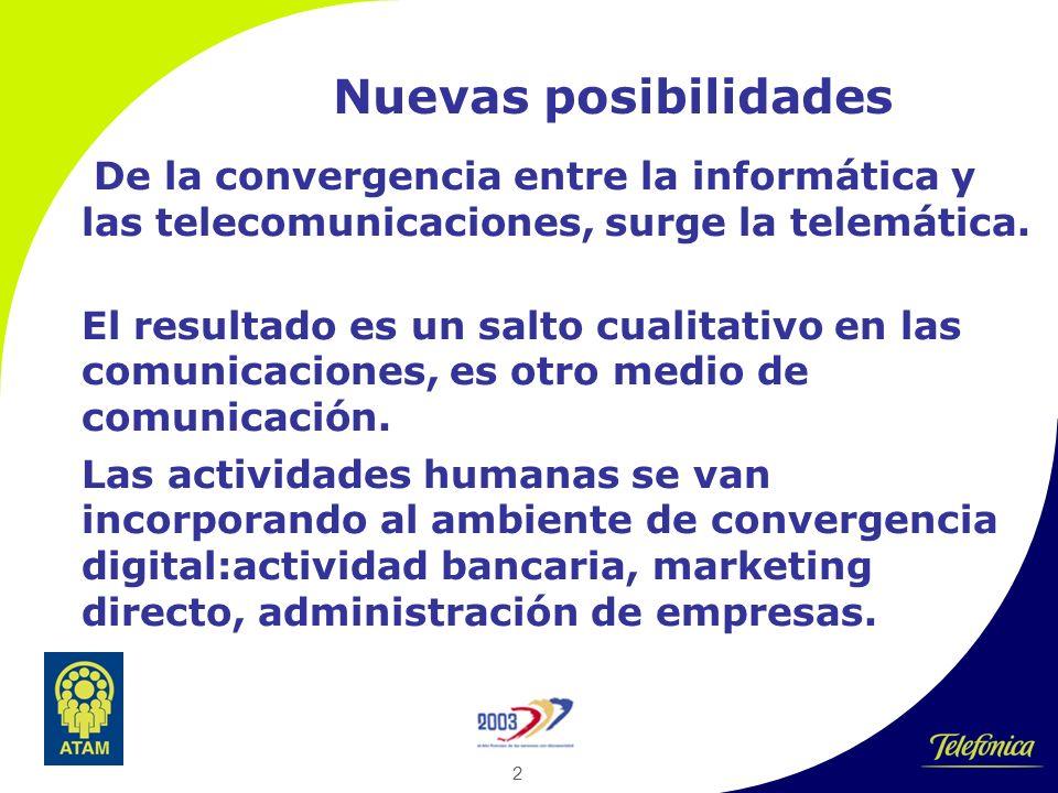 2 Nuevas posibilidades De la convergencia entre la informática y las telecomunicaciones, surge la telemática.