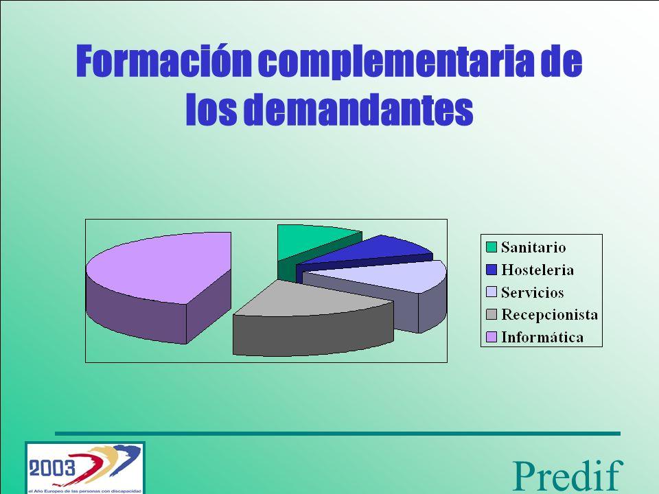 Predif Ocupaciones más demandadas Las preferencias ocupacionales mas solicitadas: Servicios de limpieza.