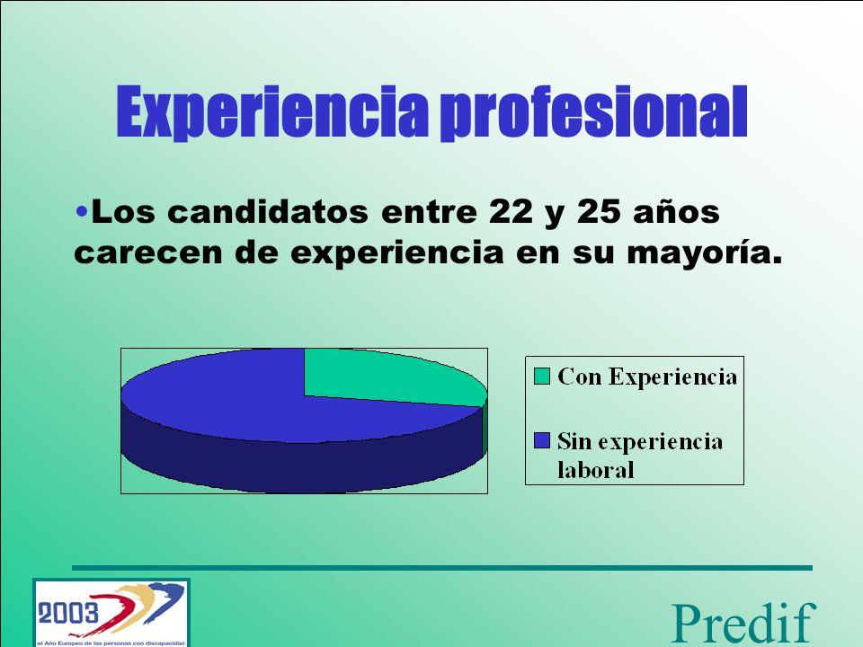 Predif Entre los demandantes de entre 26 y 40 años, aumenta la experiencia laboral.