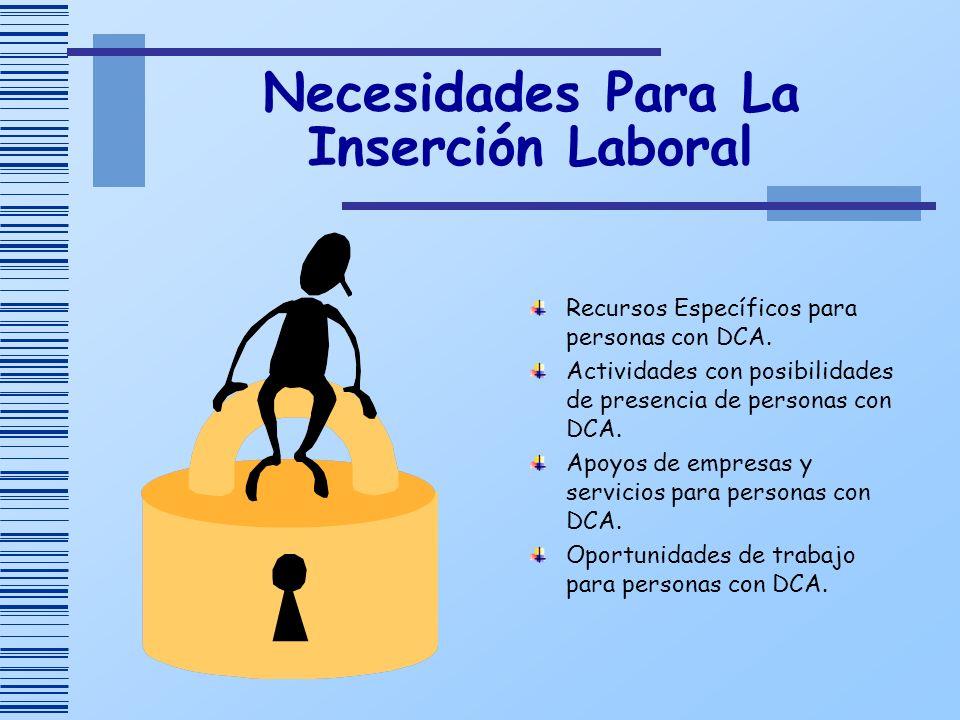 Necesidades Para La Inserción Laboral Recursos Específicos para personas con DCA. Actividades con posibilidades de presencia de personas con DCA. Apoy