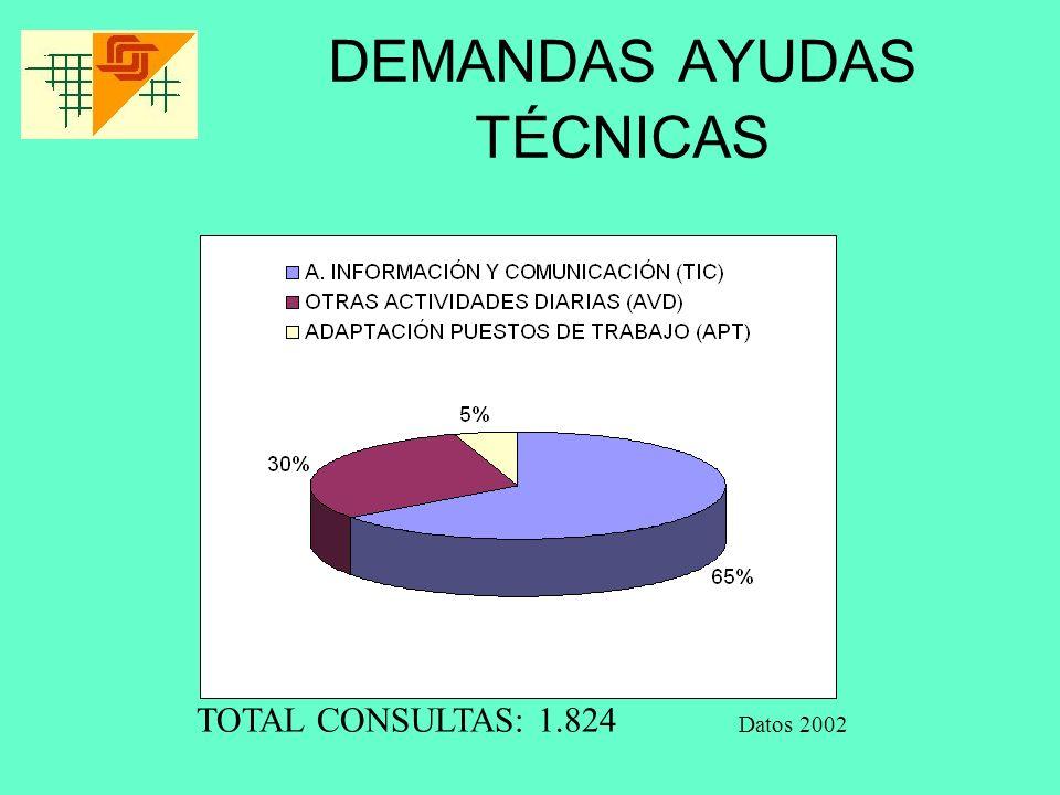 DEMANDAS AYUDAS TÉCNICAS Datos 2002 TOTAL CONSULTAS: 1.824