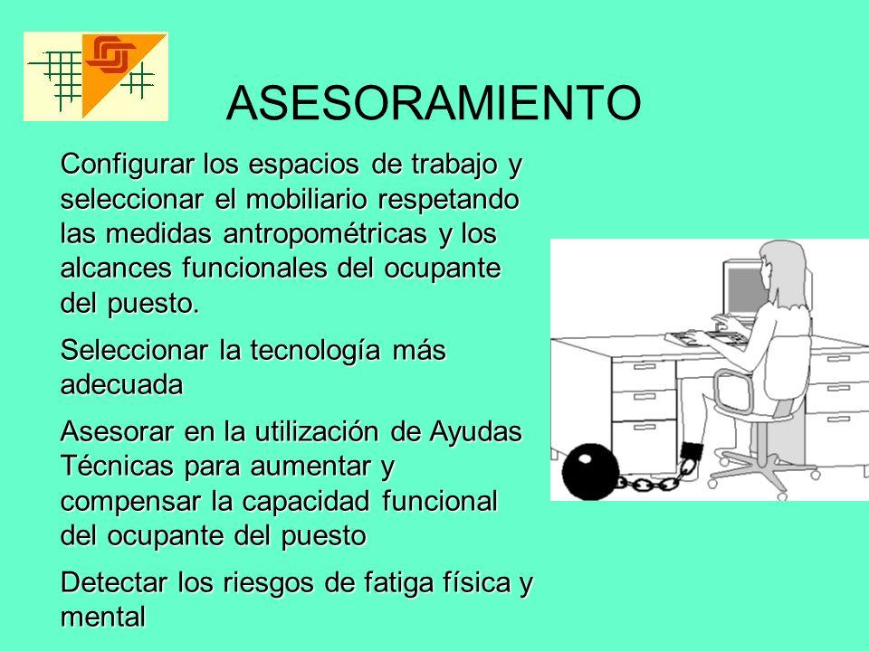 ASESORAMIENTO Configurar los espacios de trabajo y seleccionar el mobiliario respetando las medidas antropométricas y los alcances funcionales del ocu