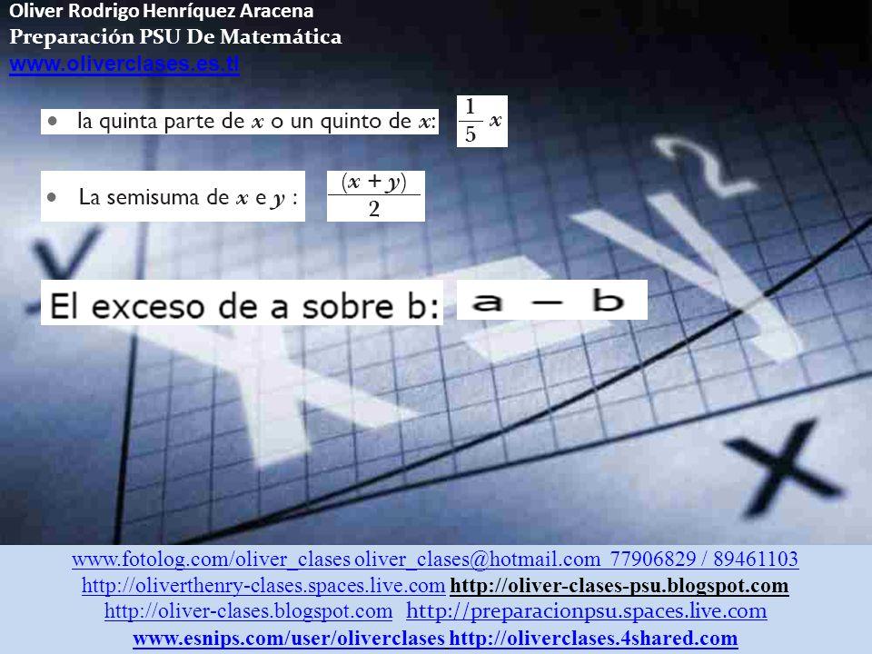 Oliver Rodrigo Henríquez Aracena Preparación PSU De Matemática www.oliverclases.es.tl www.fotolog.com/oliver_clases oliver_clases@hotmail.com 77906829 / 89461103 http://oliverthenry-clases.spaces.live.comhttp://oliverthenry-clases.spaces.live.com http://oliver-clases-psu.blogspot.com http://oliver-clases.blogspot.comhttp://oliver-clases.blogspot.com http://preparacionpsu.spaces.live.com http://preparacionpsu.spaces.live.com www.esnips.com/user/oliverclaseswww.esnips.com/user/oliverclases http://oliverclases.4shared.comhttp://oliverclases.4shared.com Siendo x e y números reales: