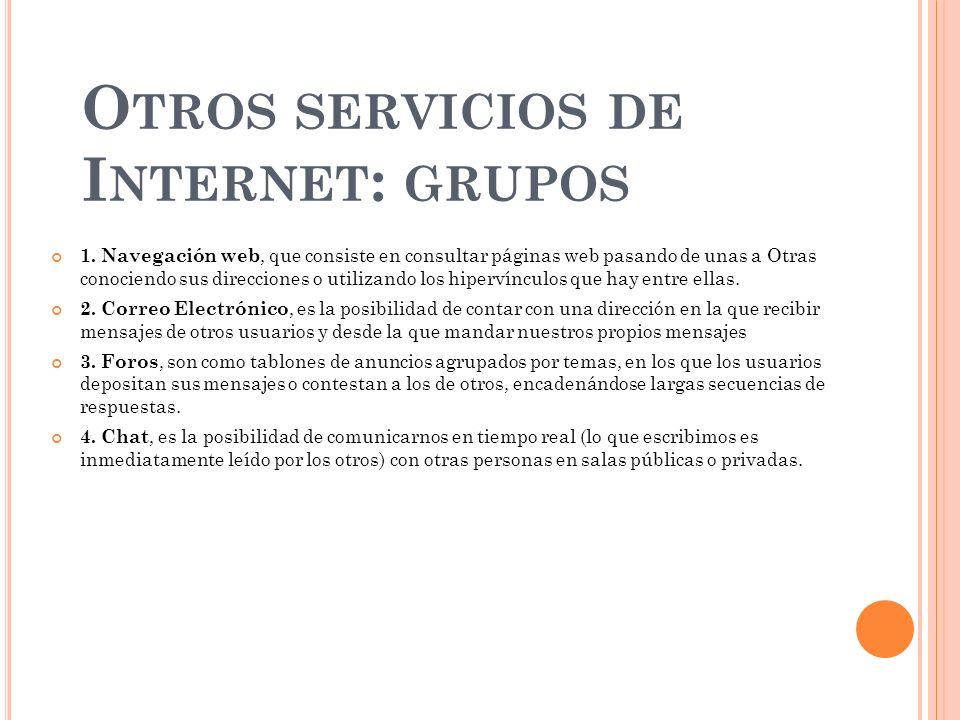 O TROS SERVICIOS DE I NTERNET : GRUPOS 1. Navegación web, que consiste en consultar páginas web pasando de unas a Otras conociendo sus direcciones o u