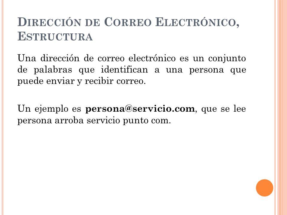 D IRECCIÓN DE C ORREO E LECTRÓNICO, E STRUCTURA Una dirección de correo electrónico es un conjunto de palabras que identifican a una persona que puede