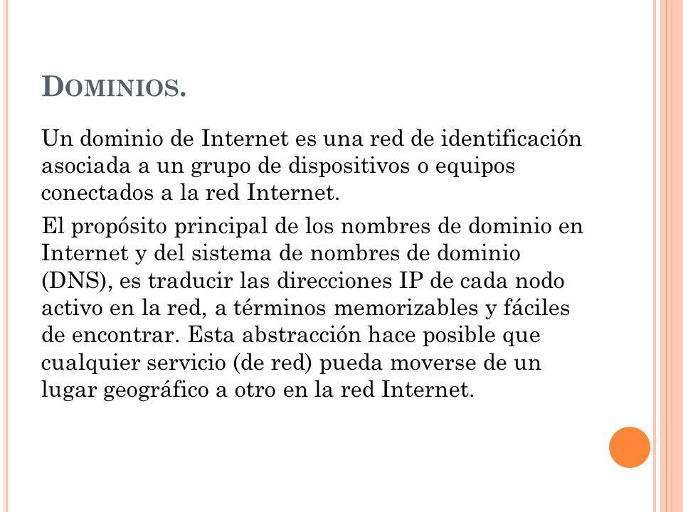 D OMINIOS. Un dominio de Internet es una red de identificación asociada a un grupo de dispositivos o equipos conectados a la red Internet. El propósit