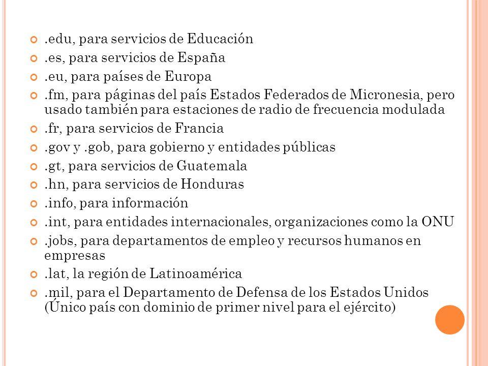 .edu, para servicios de Educación.es, para servicios de España.eu, para países de Europa.fm, para páginas del país Estados Federados de Micronesia, pe