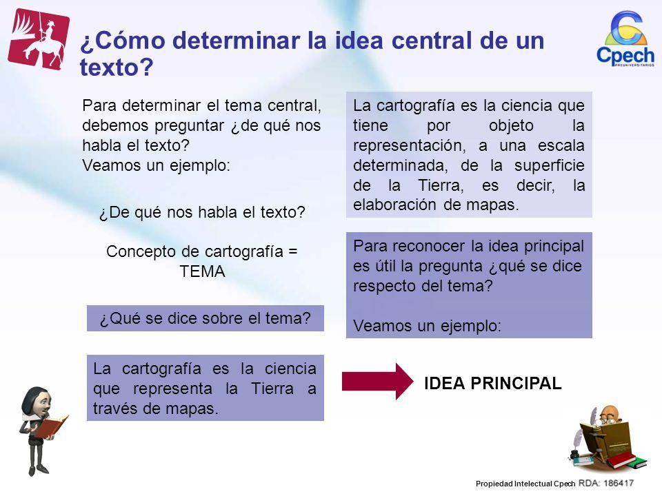 Propiedad Intelectual Cpech ¿Cómo determinar la idea central de un texto? Para determinar el tema central, debemos preguntar ¿de qué nos habla el text