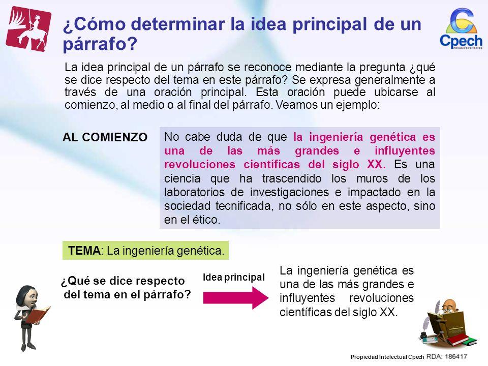 Propiedad Intelectual Cpech ¿Cómo determinar la idea principal de un párrafo? La idea principal de un párrafo se reconoce mediante la pregunta ¿qué se