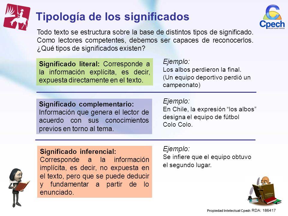 Propiedad Intelectual Cpech Tipología de los significados Todo texto se estructura sobre la base de distintos tipos de significado. Como lectores comp