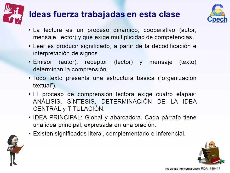 Propiedad Intelectual Cpech Ideas fuerza trabajadas en esta clase La lectura es un proceso dinámico, cooperativo (autor, mensaje, lector) y que exige
