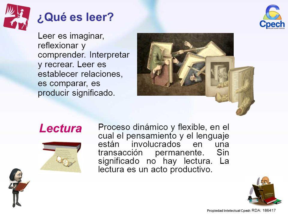 Propiedad Intelectual Cpech ¿Qué es leer? Leer es imaginar, reflexionar y comprender. Interpretar y recrear. Leer es establecer relaciones, es compara
