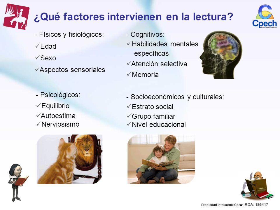 Propiedad Intelectual Cpech ¿Qué factores intervienen en la lectura? - Físicos y fisiológicos: Edad Sexo Aspectos sensoriales - Psicológicos: Equilibr