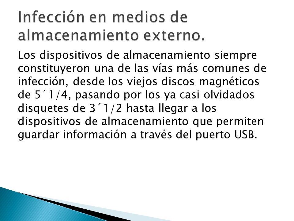 Los dispositivos de almacenamiento siempre constituyeron una de las vías más comunes de infección, desde los viejos discos magnéticos de 5´1/4, pasando por los ya casi olvidados disquetes de 3´1/2 hasta llegar a los dispositivos de almacenamiento que permiten guardar información a través del puerto USB.