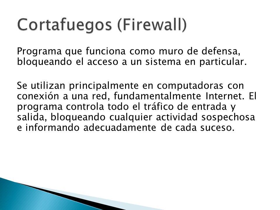Programa que funciona como muro de defensa, bloqueando el acceso a un sistema en particular.