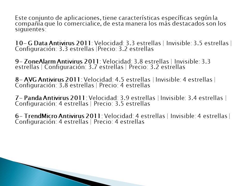 Este conjunto de aplicaciones, tiene características específicas según la compañía que lo comercialice, de esta manera los más destacados son los siguientes: 10- G Data Antivirus 2011: Velocidad: 3.3 estrellas | Invisible: 3.5 estrellas | Configuración: 3.3 estrellas |Precio: 3.2 estrellas 9- ZoneAlarm Antivirus 2011: Velocidad: 3.8 estrellas | Invisible: 3.3 estrellas | Configuración: 3.7 estrellas | Precio: 3.2 estrellas 8- AVG Antivirus 2011: Velocidad: 4.5 estrellas | Invisible: 4 estrellas | Configuración: 3.8 estrellas | Precio: 4 estrellas 7- Panda Antivirus 2011: Velocidad: 3.9 estrellas | Invisible: 3.4 estrellas | Configuración: 4 estrellas | Precio: 3.5 estrellas 6- TrendMicro Antivirus 2011: Velocidad: 4 estrellas | Invisible: 4 estrellas | Configuración: 4 estrellas | Precio: 4 estrellas