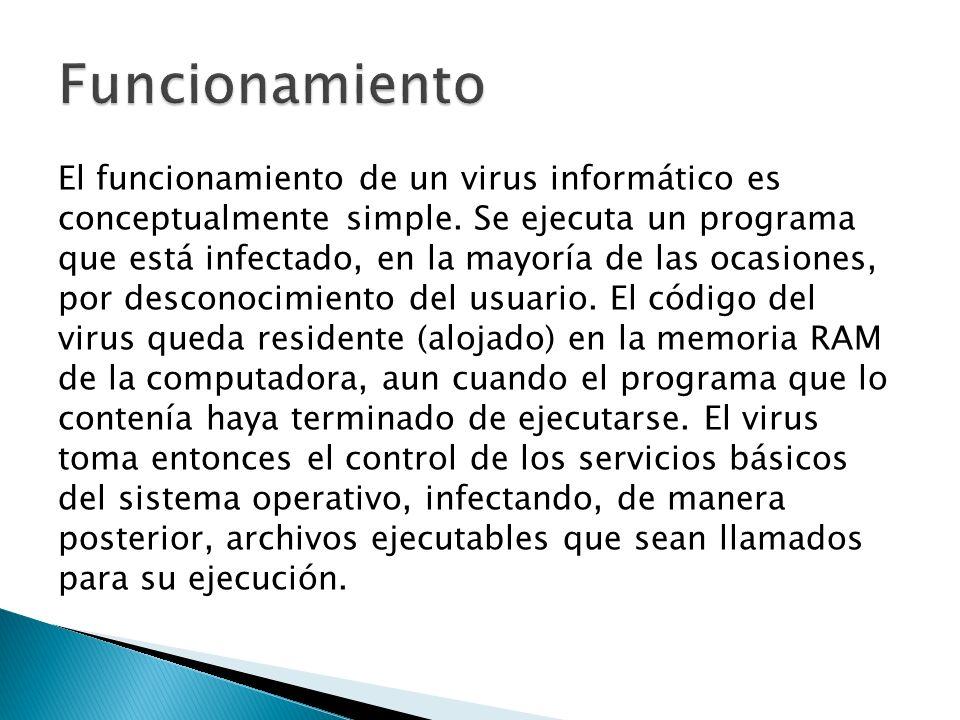 El funcionamiento de un virus informático es conceptualmente simple.