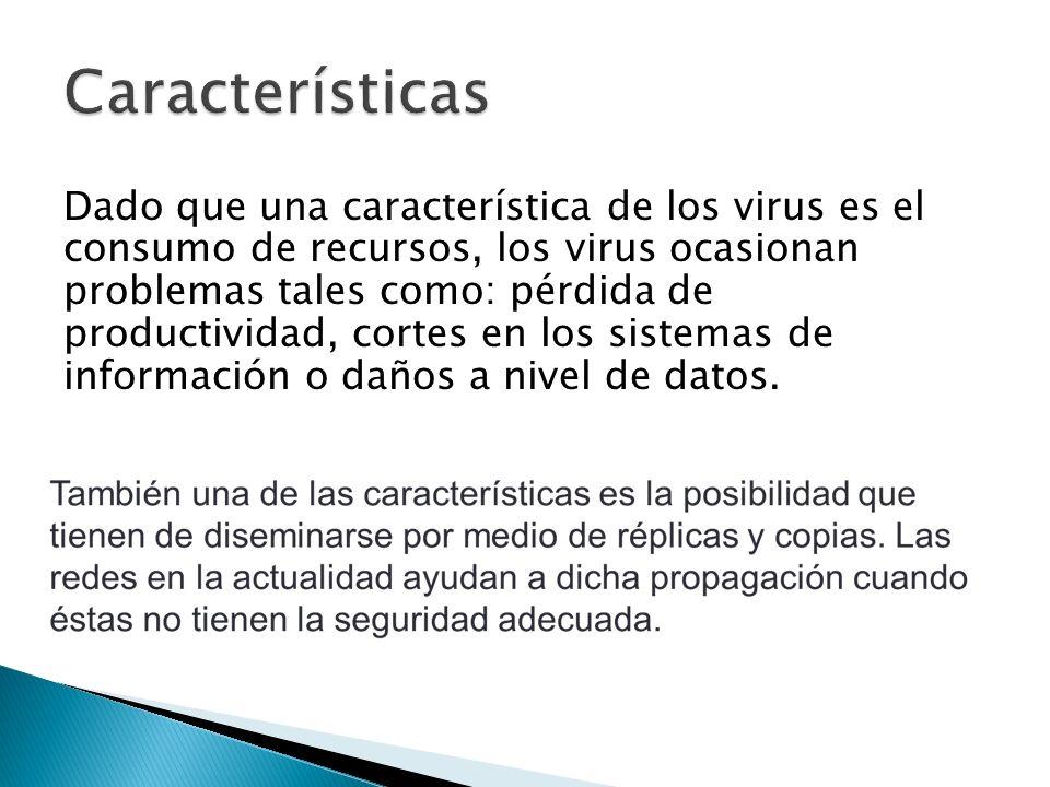 Dado que una característica de los virus es el consumo de recursos, los virus ocasionan problemas tales como: pérdida de productividad, cortes en los sistemas de información o daños a nivel de datos.