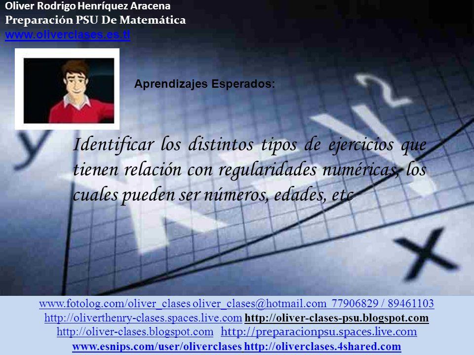 Oliver Rodrigo Henríquez Aracena Preparación PSU De Matemática www.oliverclases.es.tl Aprendizajes Esperados: Identificar los distintos tipos de ejercicios que tienen relación con regularidades numéricas, los cuales pueden ser números, edades, etc www.fotolog.com/oliver_clases oliver_clases@hotmail.com 77906829 / 89461103 http://oliverthenry-clases.spaces.live.comhttp://oliverthenry-clases.spaces.live.com http://oliver-clases-psu.blogspot.com http://oliver-clases.blogspot.comhttp://oliver-clases.blogspot.com http://preparacionpsu.spaces.live.com http://preparacionpsu.spaces.live.com www.esnips.com/user/oliverclaseswww.esnips.com/user/oliverclases http://oliverclases.4shared.comhttp://oliverclases.4shared.com