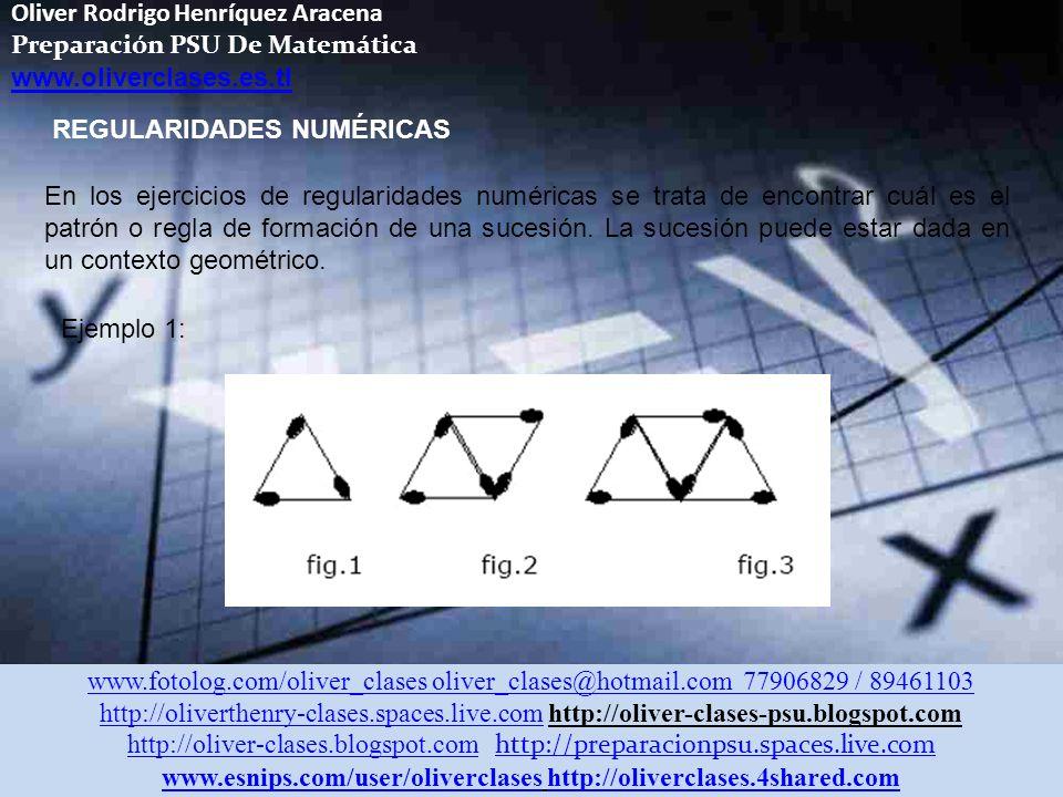 Oliver Rodrigo Henríquez Aracena Preparación PSU De Matemática www.oliverclases.es.tl www.fotolog.com/oliver_clases oliver_clases@hotmail.com 77906829 / 89461103 http://oliverthenry-clases.spaces.live.comhttp://oliverthenry-clases.spaces.live.com http://oliver-clases-psu.blogspot.com http://oliver-clases.blogspot.comhttp://oliver-clases.blogspot.com http://preparacionpsu.spaces.live.com http://preparacionpsu.spaces.live.com www.esnips.com/user/oliverclaseswww.esnips.com/user/oliverclases http://oliverclases.4shared.comhttp://oliverclases.4shared.com REGULARIDADES NUMÉRICAS En los ejercicios de regularidades numéricas se trata de encontrar cuál es el patrón o regla de formación de una sucesión.