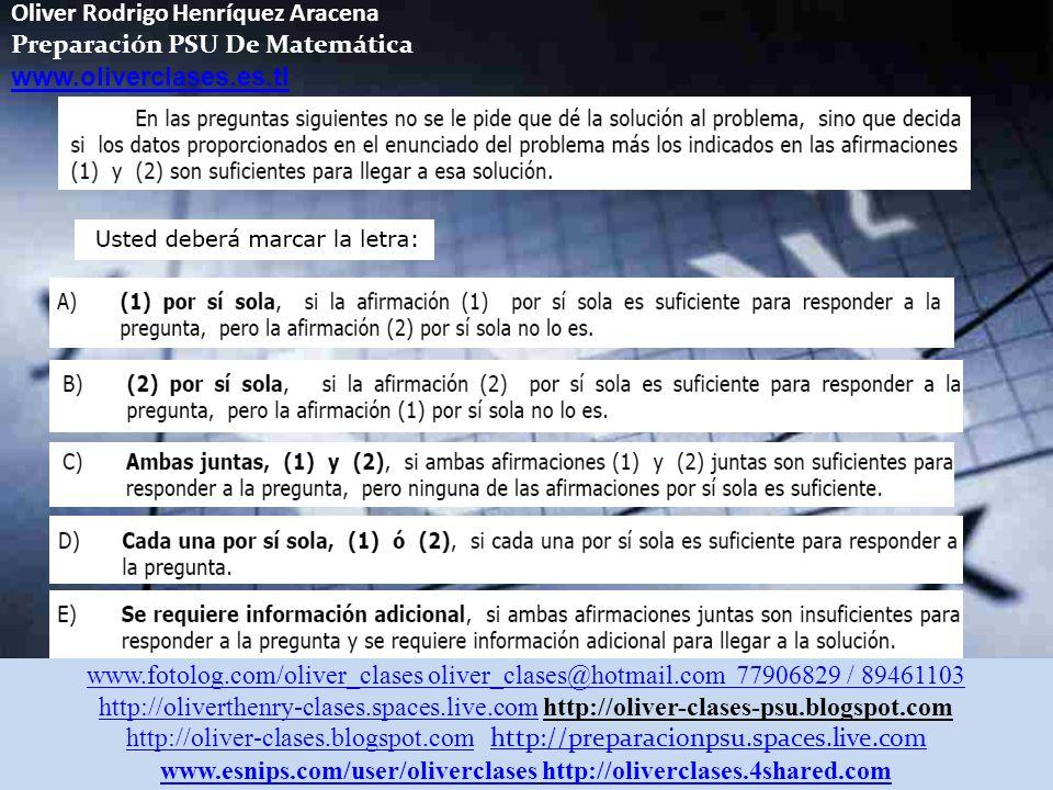 Oliver Rodrigo Henríquez Aracena Preparación PSU De Matemática www.oliverclases.es.tl Aprendizajes Esperados: En la clase de hoy aprenderemos como abo