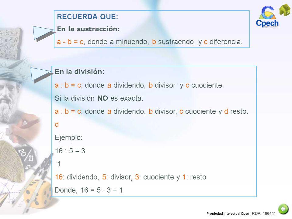 Propiedad Intelectual Cpech RECUERDA QUE: En la sustracción: a - b = c, donde a minuendo, b sustraendo y c diferencia. En la división: a : b = c, dond