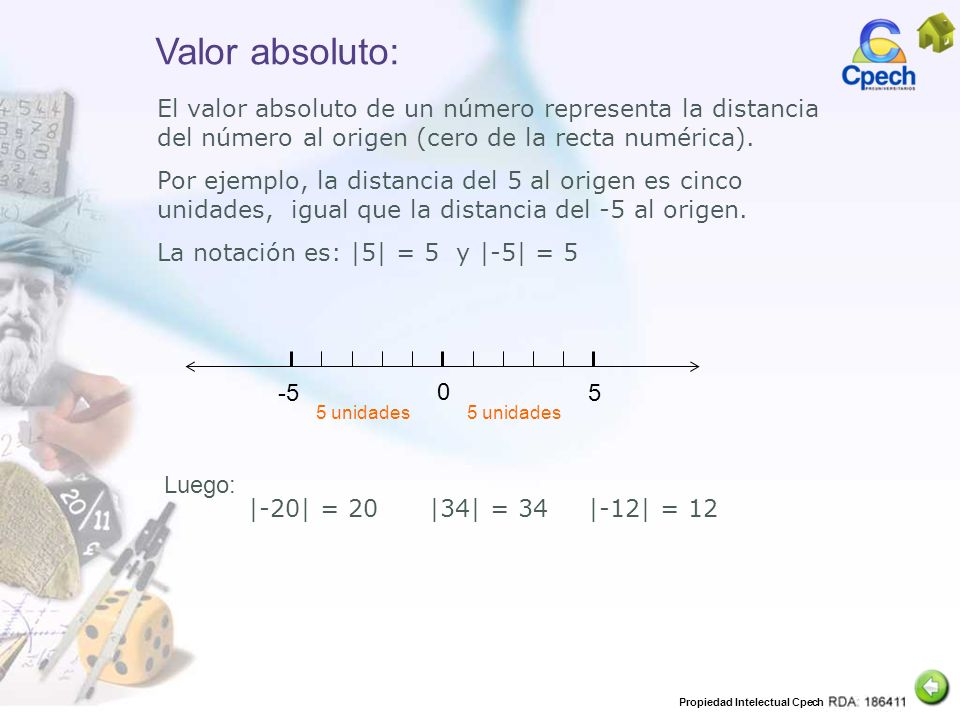 Propiedad Intelectual Cpech Valor absoluto: El valor absoluto de un número representa la distancia del número al origen (cero de la recta numérica). P